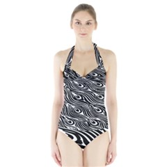 Digitally Created Peacock Feather Pattern In Black And White Halter Swimsuit