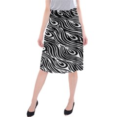 Digitally Created Peacock Feather Pattern In Black And White Midi Beach Skirt