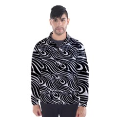 Digitally Created Peacock Feather Pattern In Black And White Wind Breaker (men)