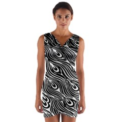 Digitally Created Peacock Feather Pattern In Black And White Wrap Front Bodycon Dress