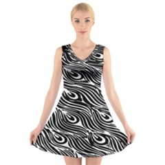 Digitally Created Peacock Feather Pattern In Black And White V Neck Sleeveless Skater Dress