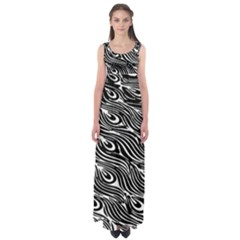 Digitally Created Peacock Feather Pattern In Black And White Empire Waist Maxi Dress