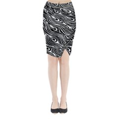Digitally Created Peacock Feather Pattern In Black And White Midi Wrap Pencil Skirt