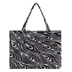 Digitally Created Peacock Feather Pattern In Black And White Medium Tote Bag
