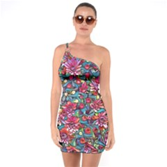 Lovely Floral 31a One Soulder Bodycon Dress