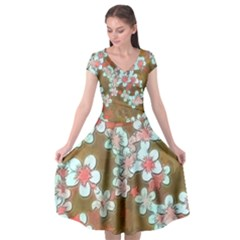 Lovely Floral 29 A Cap Sleeve Wrap Front Dress