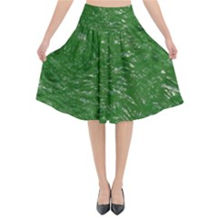 Thick Wet Paint D Flared Midi Skirt