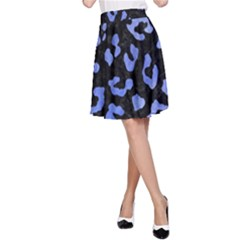 Skin5 Black Marble & Blue Watercolor (r) A Line Skirt