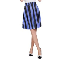 Skin4 Black Marble & Blue Watercolor A Line Skirt