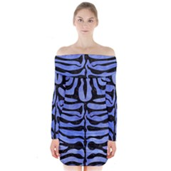 Skin2 Black Marble & Blue Watercolor (r) Long Sleeve Off Shoulder Dress