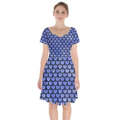 Scales3 Black Marble & Blue Watercolor (r) Short Sleeve Bardot Dress