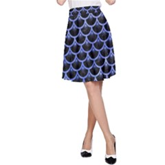 Scales3 Black Marble & Blue Watercolor A Line Skirt