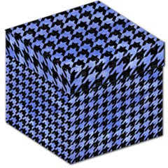 Houndstooth1 Black Marble & Blue Watercolor Storage Stool 12