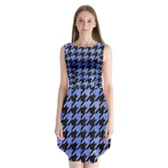 Houndstooth1 Black Marble & Blue Watercolor Sleeveless Chiffon Dress