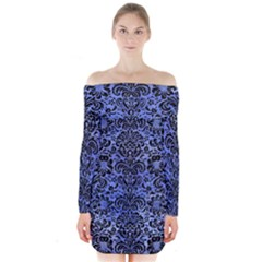 Damask2 Black Marble & Blue Watercolor (r) Long Sleeve Off Shoulder Dress