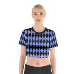 Diamond1 Black Marble & Blue Watercolor Cotton Crop Top