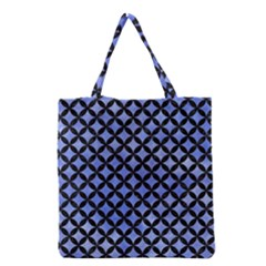 Circles3 Black Marble & Blue Watercolor (r) Grocery Tote Bag