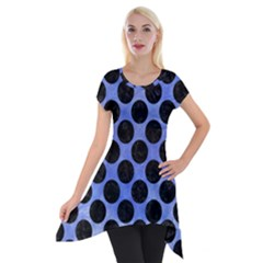 Circles2 Black Marble & Blue Watercolor (r) Short Sleeve Side Drop Tunic