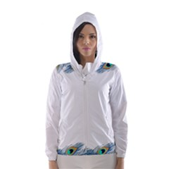 Beautiful Frame Made Up Of Blue Peacock Feathers Hooded Wind Breaker (women)