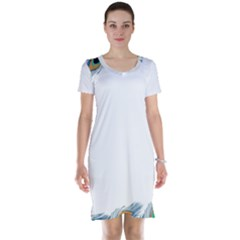 Beautiful Frame Made Up Of Blue Peacock Feathers Short Sleeve Nightdress