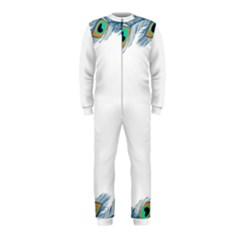 Beautiful Frame Made Up Of Blue Peacock Feathers Onepiece Jumpsuit (kids)
