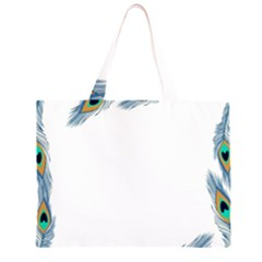 Beautiful Frame Made Up Of Blue Peacock Feathers Zipper Large Tote Bag