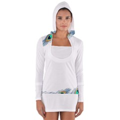Beautiful Frame Made Up Of Blue Peacock Feathers Women s Long Sleeve Hooded T Shirt
