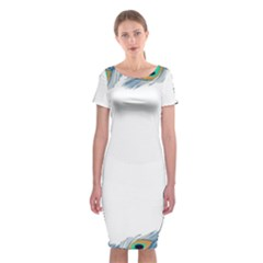 Beautiful Frame Made Up Of Blue Peacock Feathers Classic Short Sleeve Midi Dress