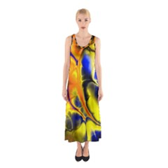 Fractal Art Pattern Cool Sleeveless Maxi Dress