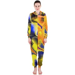 Fractal Art Pattern Cool Hooded Jumpsuit (ladies)