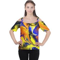 Fractal Art Pattern Cool Women s Cutout Shoulder Tee
