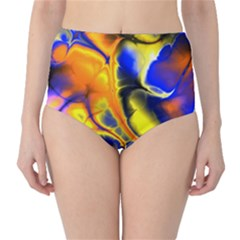 Fractal Art Pattern Cool High Waist Bikini Bottoms