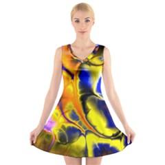 Fractal Art Pattern Cool V Neck Sleeveless Skater Dress