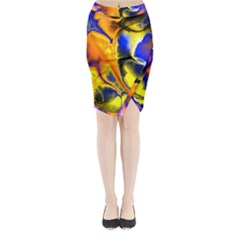 Fractal Art Pattern Cool Midi Wrap Pencil Skirt
