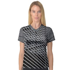 Abstract Architecture Pattern Women s V Neck Sport Mesh Tee