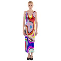 Colourful Abstract Background Design Fitted Maxi Dress