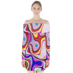 Colourful Abstract Background Design Long Sleeve Off Shoulder Dress