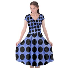 Circles1 Black Marble & Blue Watercolor (r) Cap Sleeve Wrap Front Dress