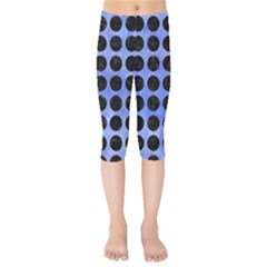 Circles1 Black Marble & Blue Watercolor (r) Kids  Capri Leggings