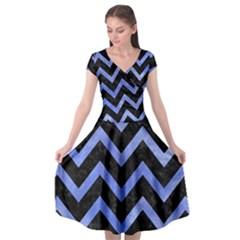 Chevron9 Black Marble & Blue Watercolor Cap Sleeve Wrap Front Dress
