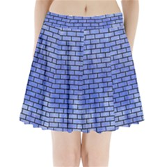 Brick1 Black Marble & Blue Watercolor (r) Pleated Mini Skirt