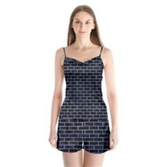 Brick1 Black Marble & Blue Watercolor Satin Pajamas Set
