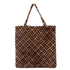Woven2 Black Marble & Brown Stone (r) Grocery Tote Bag