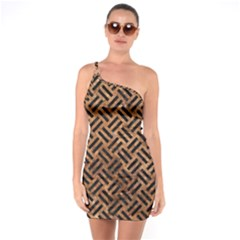 Woven2 Black Marble & Brown Stone (r) One Shoulder Ring Trim Bodycon Dress
