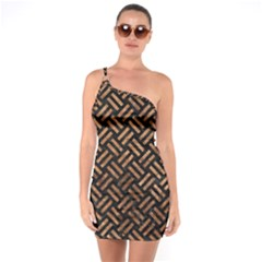 Woven2 Black Marble & Brown Stone One Shoulder Ring Trim Bodycon Dress