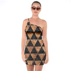 Triangle3 Black Marble & Brown Stone One Shoulder Ring Trim Bodycon Dress