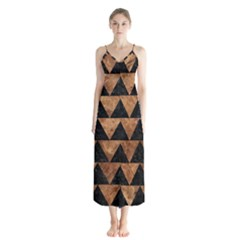 Triangle2 Black Marble & Brown Stone Button Up Chiffon Maxi Dress