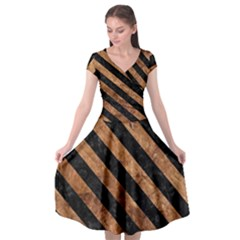 Stripes3 Black Marble & Brown Stone (r) Cap Sleeve Wrap Front Dress