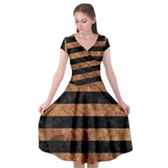 Stripes2 Black Marble & Brown Stone Cap Sleeve Wrap Front Dress