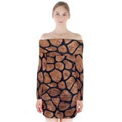 Skin1 Black Marble & Brown Stone Long Sleeve Off Shoulder Dress